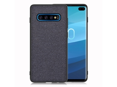Удароустойчив Гръб Cloth Leather за Samsung Galaxy S10 Plus, Тъмно син