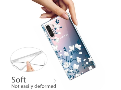Силиконов Гръб за Samsung Galaxy Note 10, Бели цветя