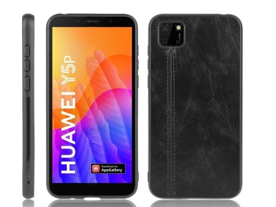 Удароустойчив гръбLeather Coated за Huawei Y5p/Honor 9S, Черен