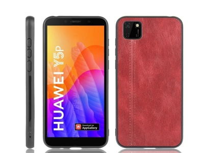 Удароустойчив гръб Leather Coated за Huawei Y5p/Honor 9S, Червен
