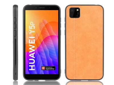Удароустойчив гръб Leather Coated за Huawei Y5p/Honor 9S, Кафяв