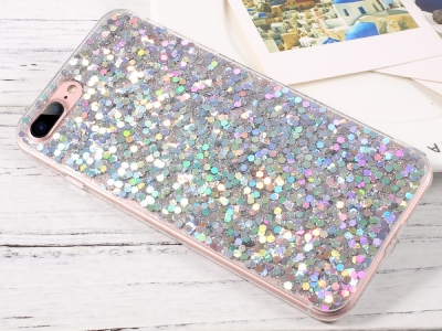 Силиконов Гръб Glitter за iPhone 7 Plus / iPhone 8 Plus, Сребрист