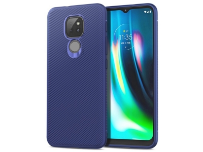 Силиконов Калъф Twill Texture за Motorola Moto G9 Play/G9 (India)/E7 Plus, Син