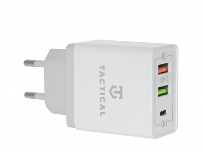 Адаптор 220v Tactical AR-QC-PD 2xUSB-A/USB-C QC 3.0 5.4 White
